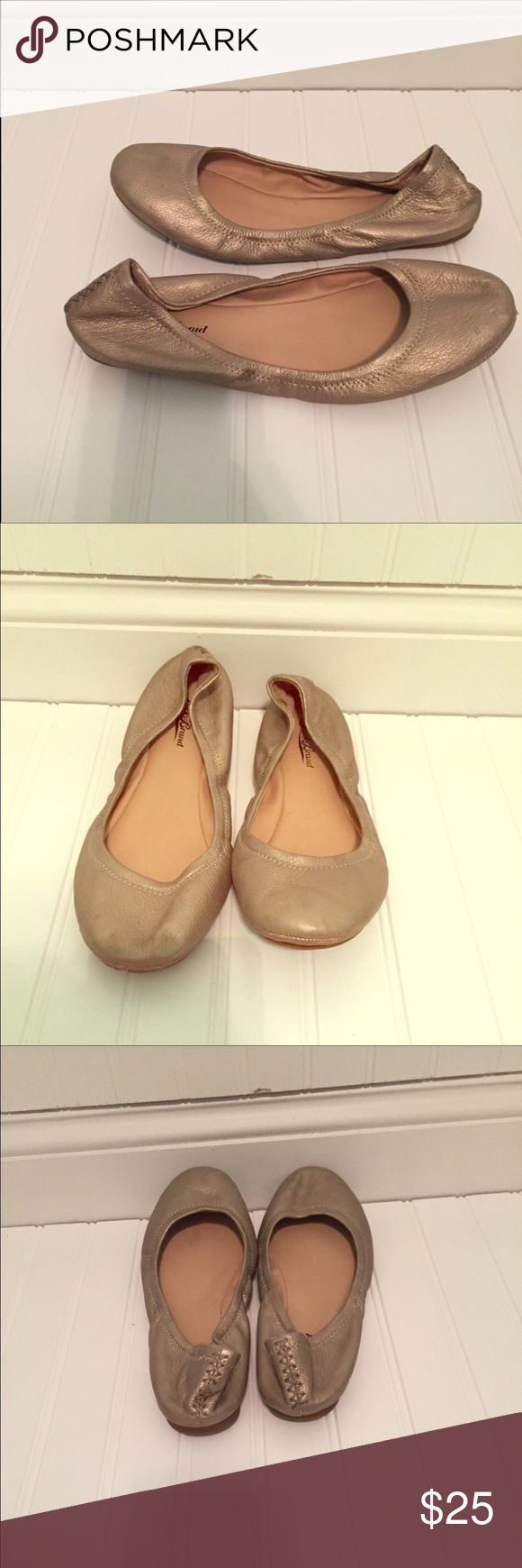 Lucky Brand Emmie ballet flats. Size 9.5 So cute and beyond comfortable!! These gold ballet flats will go with skinny jeans and capris, or can be dressed up! Small scuffs on the front, otherwise great condition. Smoke/pet free home. Lucky Brand Shoes