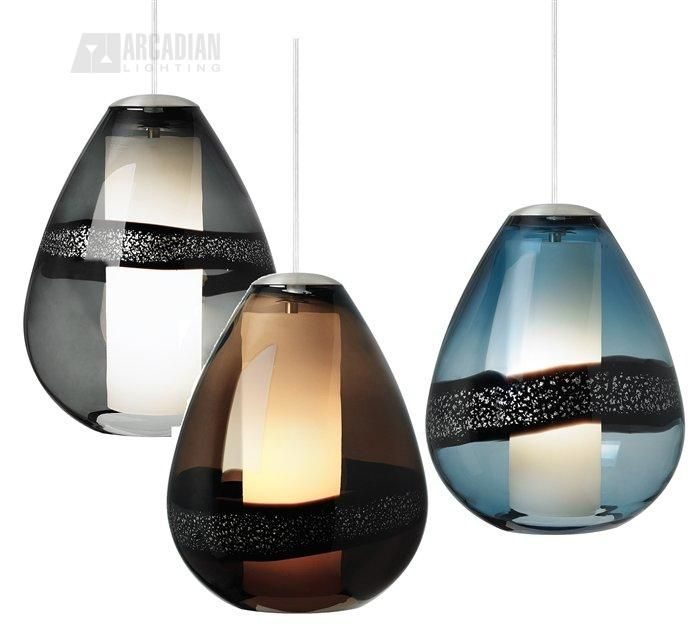Miyu modern contemporary beautiful transparent teardrop shaped glass with silver leaf band surrounds an opal glass diffuser
