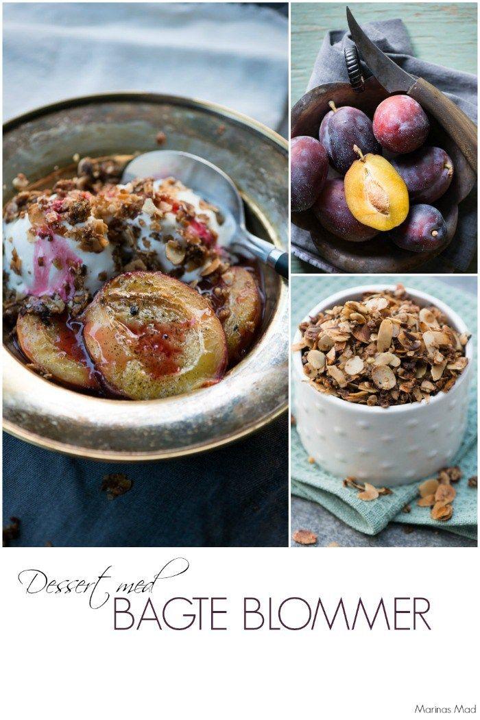 Skøn dessert med bagte blommer og havregrynsknas. Opskrift fra Marinas Mad: Årstidens opskrifter.