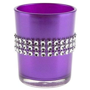 Purple Glass Candle Holder with Faux Diamonds