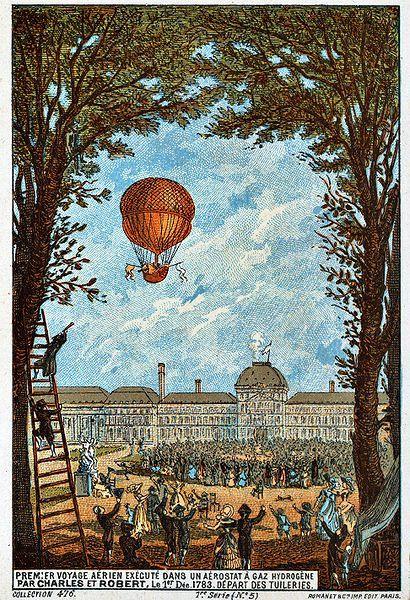 1783, 1 december - Ballon opstijging door Charles  en Robert, een gasballon, vanuit de Tuileries