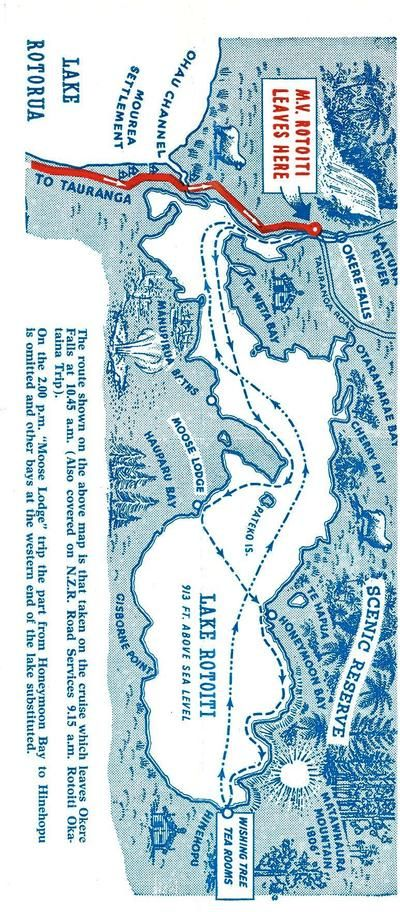 Old Brochure about Lake Rotoiti tours on the M.V. Rotoiti From the Heritage Collection of Rotorua District Library