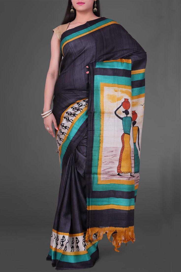 Black Panihari Hand Brush Painted Pashmina Tussar Silk Saree