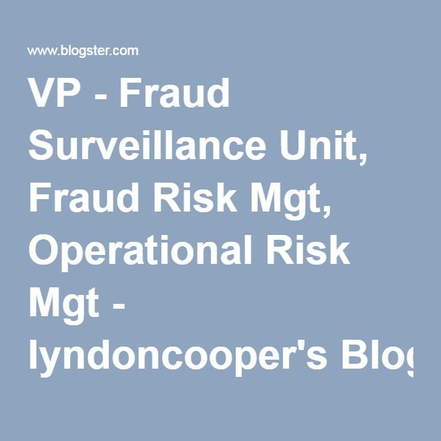 VP - Fraud Surveillance Unit, Fraud Risk Mgt, Operational Risk Mgt - lyndoncooper's Blog - Blogster