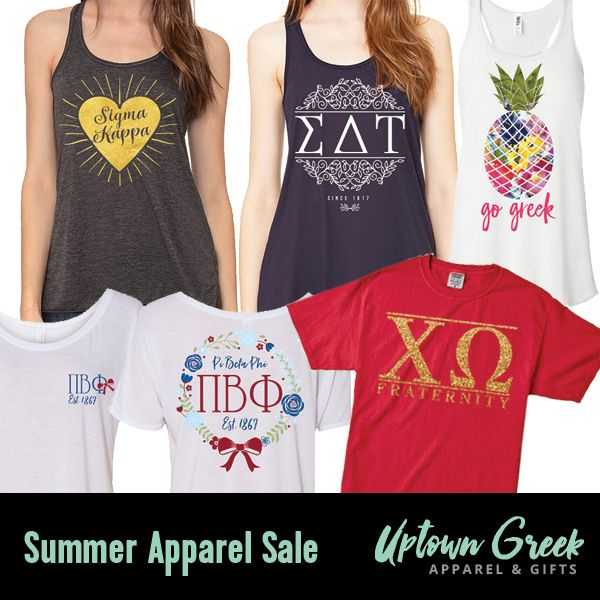 """NEW Pref Promo Code! Uptown Greek is a fantastic Etsy sorority apparel & gift shop that offers a large collection of adorable swag. For one week only, they're giving sorority sugar followers a 10% discount on all greek APPAREL!! Perfect for summer, recruitment and boosting your fall wardrobe. USE CODE: """"SUMMERSALE"""" for 10% OFF all sorority fashions. VALID DATES: 7/19 - 7/26. <3"""
