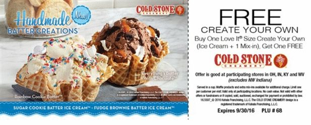 Cold Stone Coupon: Buy One Get One FREE Cold Stone Ice Cream (Select Locations)
