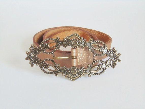 Brown leather belt vintage belt womens belt leather by SARADECORA
