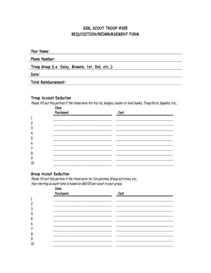 Girl Scout Reimbursement Form  Girl Scout Leader