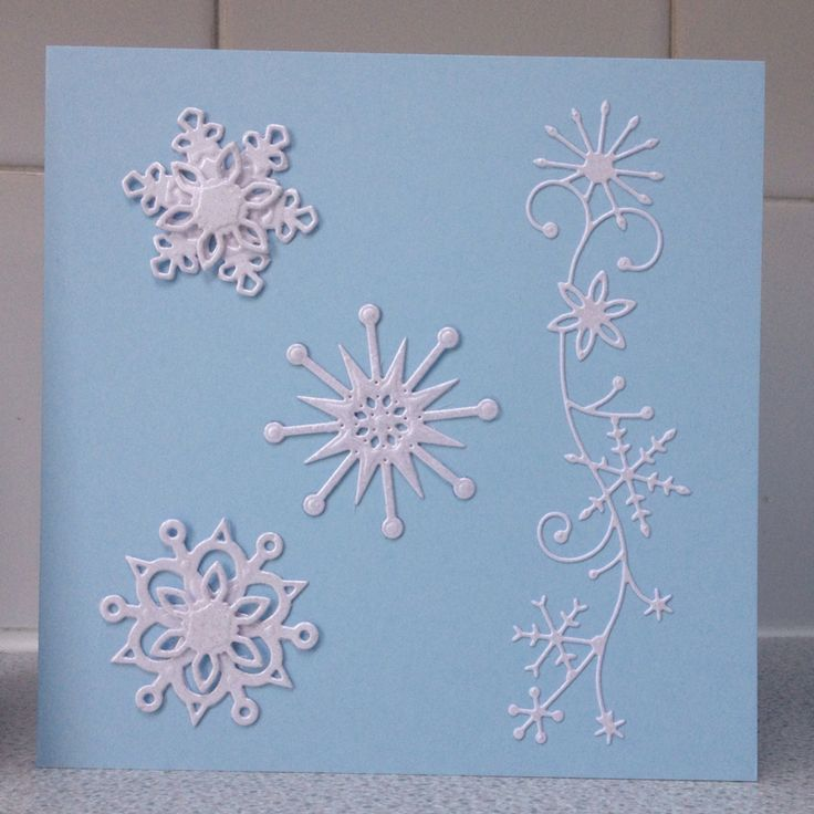Snowflake Christmas cards.  Die-cut and embossing magic.