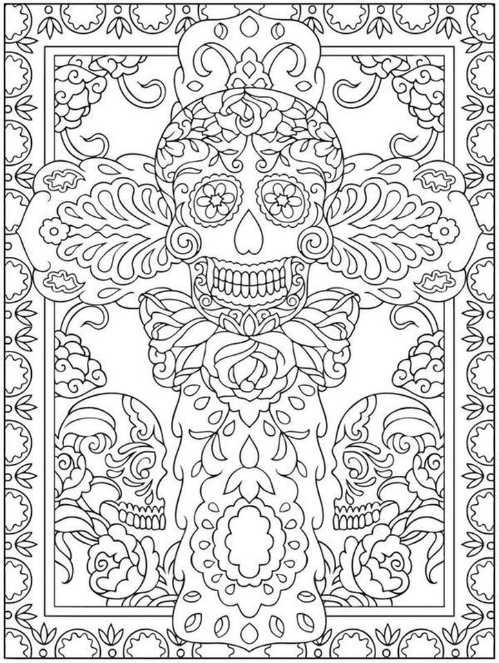 Day Of The Dead Coloring Pages 8211 Hard Coloring For Adults 8211 Tc3av Skull Coloring Pages Cool Coloring Pages Coloring Pages