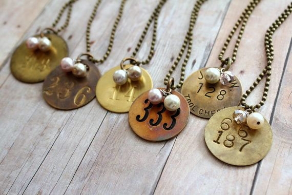 Miner Tag Necklace, Tool Tag Necklace, Rustic Wedding, Coal Miner, Brass Number, Number Jewelry, Upcycled Recycled Repurposed,Etsy Wholesale