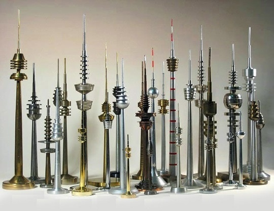 Collect of vintage German TV Tower models/replicas from the 1950's through 1970's (via Apt Therapy)