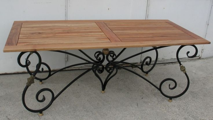 Light Oak Wood Table Tops And Black Wrought Iron Dining