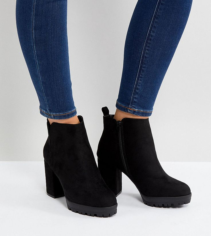 New Look Wide Fit Chunky Cleated Sole Heeled Ankle Boot - Black