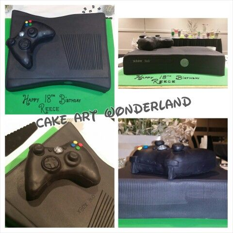 A caramel mudcake carved into the shape of an Xbox. The controller was carved from foam & covered in fondant. All details were made to match the Xbox 360 console for Reece' s 18th birthday