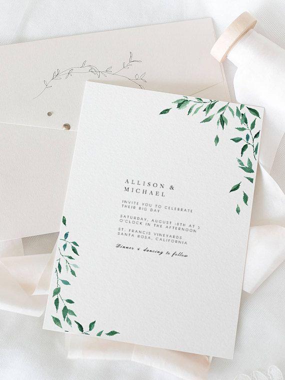 Greenery Wedding Invitation Template Botanical Green Leaves