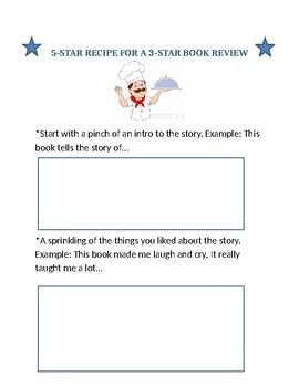 book review recipe template middle school madness student