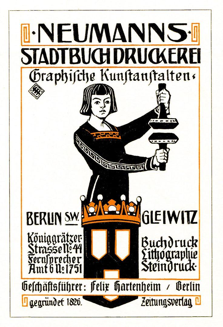 Berlin Gleiwitz, Inserat Druckerei 1910