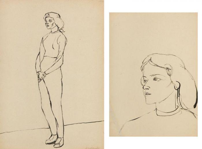 Andrzej Wróblewski - Praca dwustronna: Portret Aleksandry Peterschein  [Kompozycja figuralna nr 1257]