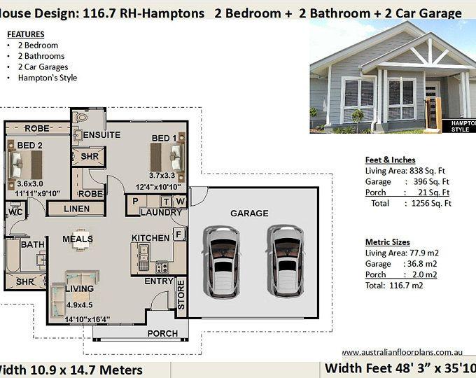 635 Sq Feet Or 59 8 M2 Hamptons Style 2 Bedroom Granny Flat Etsy House Plans Australia Small House Garage House Plans