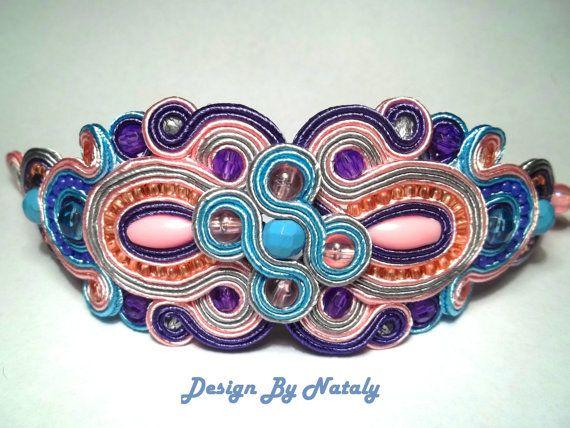 OOAK Soutache Jewelry Bracelet Magnolia Pink by DesignByNataly