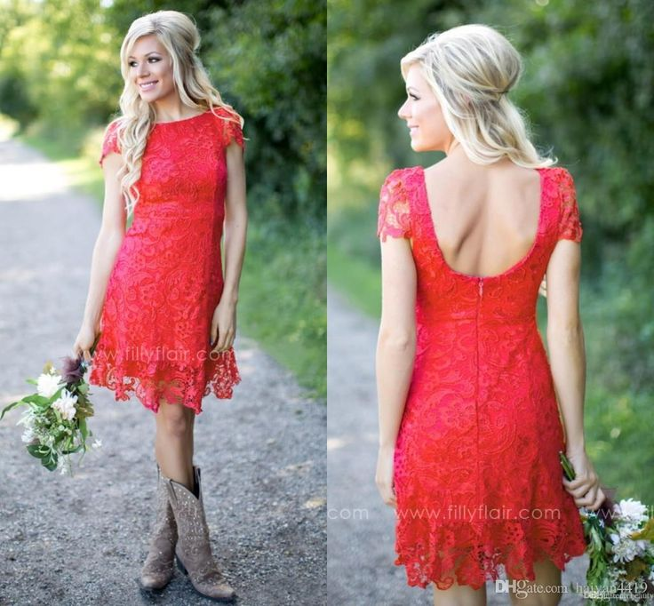 Bridesmaid Dresses 2017 New Cheap Country Short For Weddings Jewel Neck Red Full Lace A Line Plus Size Backless Formal Maid of Honor Gowns Bridesmaid Dress Under 100 Red Bridesmaid Dresses Country Bridesmaid Dresses Online with 89.72/Piece on Haiyan4419's Store | DHgate.com