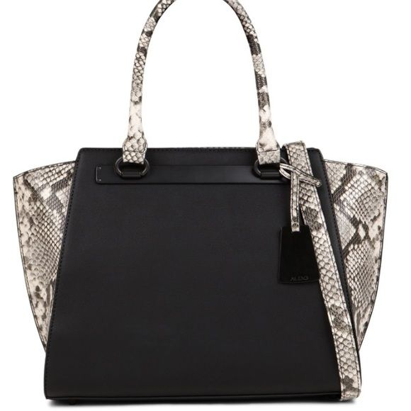 Aldo purse snakeskin purse Black matte with snakeskin sides and handle ALDO Bags Satchels