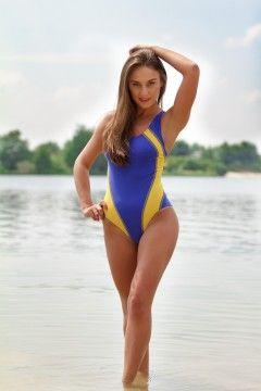 Kostium kąpielowy Mauritius granatowo-żółty