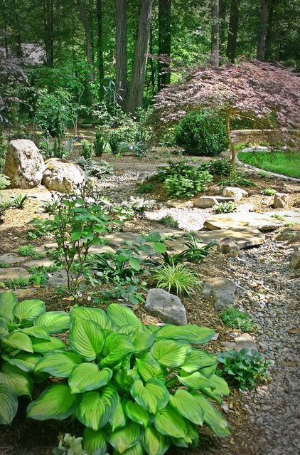 17 best images about rustic landscape for me on pinterest for Woodland shade garden designs