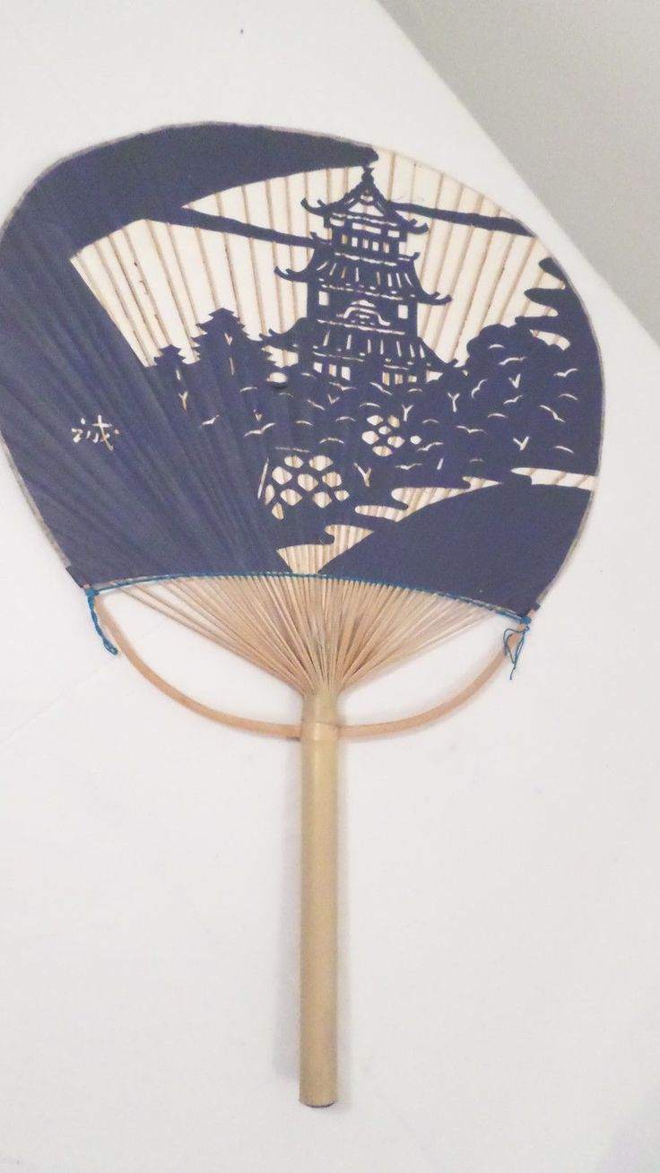 Large Vintage Bamboo & Paper Hand Held Fan w/ Cut Out Pagoda Design | eBay
