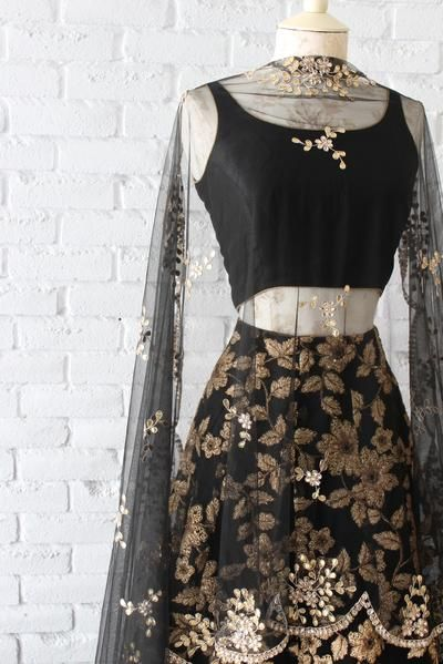 Black Blossom Lengha Set