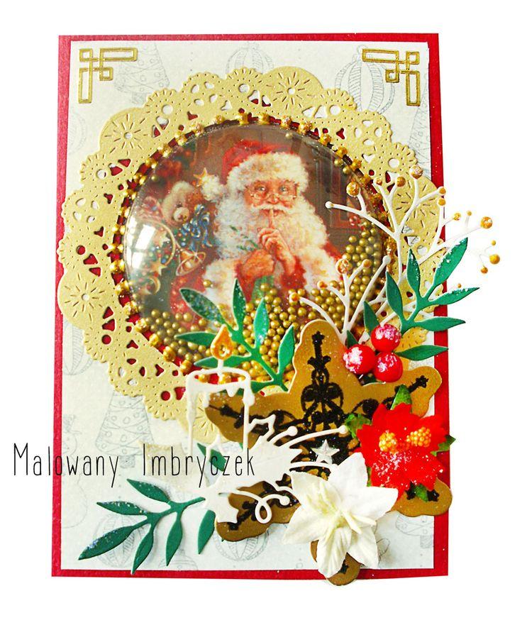 Świąteczny grzechotnik w kopółce :) Odsłona 1 Akt 1  #scrapbooking, #card, #kartka, #handmade, #rękodzieło, #malowanyimbryczek, #shaker, #christmas, #święta, #bożenarodzenie, #santa, #mikołaj