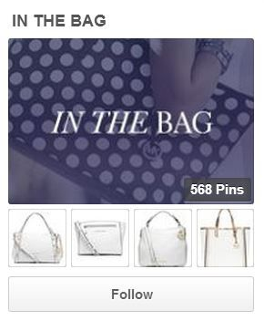 Op de officiële pagina van Michael Kors op pinterest vind je bord IN THE BAG. Dit bord heeft meer dan 114 000 volgers en ook het esthetische overzicht van bord is heel mooi - grijs-paarse foto van een zak past heel goed met andere vier foto's van witte zakken.