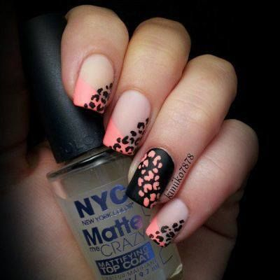 Coral Leopard Ombre Nails