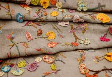 crochet and sewing flowers by Sophie Digard This is a shawl or a scarf and is lovely