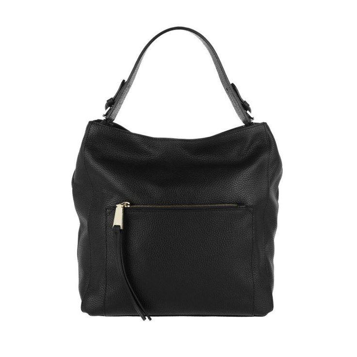 Abro Abro Tasche – Adria Grained Leather Hobo Bag Black/Gold – in schwarz – Umhängetasche für Damen