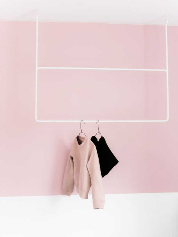 Via Haimes Paint | Pink and White | White Minimal Coat Rack