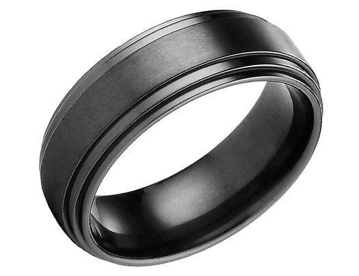 mens 8mm satin comfort fit black titanium wedding band lifetime guarantee