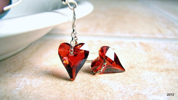 Heart Earrings Wild Heart Crystal Heart by BellaDonnaJewelryCo, $20.00