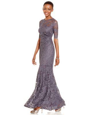 Xscape Petite Glitter Lace Mermaid Gown