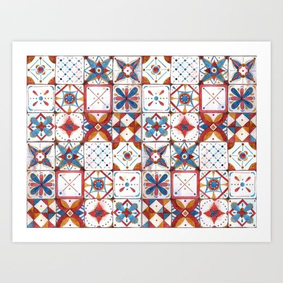 Collect your choice of gallery quality Giclée, or fine art prints custom trimmed by hand in a variety of sizes with a white border for framing. https://society6.com/product/tile-pattern-h11_print?curator=wellglow
