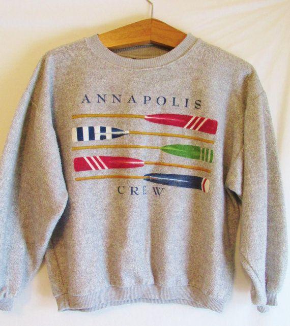 Vintage 1990's Retro Annapolis Rowing Crew Sweatshirt by FreshtoDeathVintage, $23.50