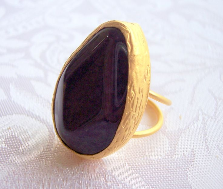 Handmade dark purple with tear drop shape agate ring gold plated semiprecious gemstone, jewelry and balance by GardenOfLinda on Etsy