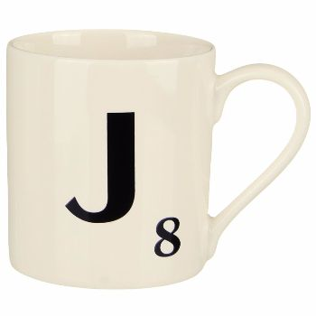 Scrabble Mug J: Scrabble mugs – collect the set for when you have 25 friends round for tea.