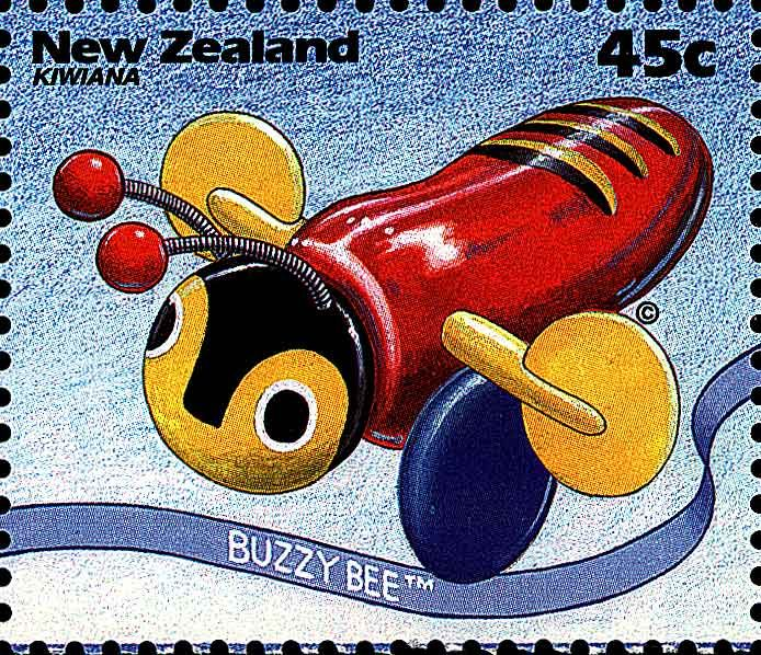 "Our Buzzy Bee Toy - one of the ""Kiwiana' postage stamps"