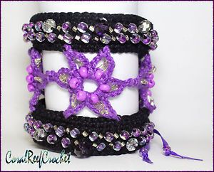 Crochet beaded bracelet cuff. Purple flowers. Handmade in Australia.