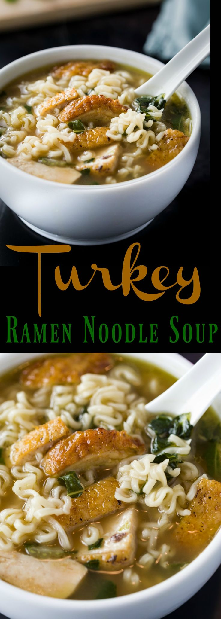 Juicy turkey is heated in sesame oil with a splash of soy sauce, then immersed in a savory turkey stock with Bok Choy and classic Ramen Noodles.