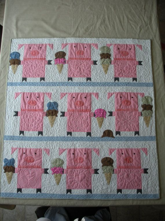Piggies Eating Ice Cream Quilt by ArtfullyAmy on Etsy