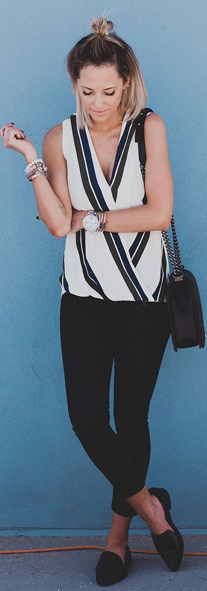 Wrap Striped Sleeveless Blouse Black Slacks Black Flats #Fashionistas