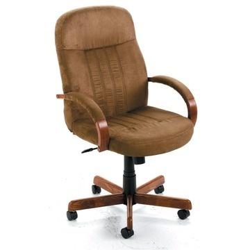 Desk Chair - Cappuccino Microfiber/Dark Oak Finish